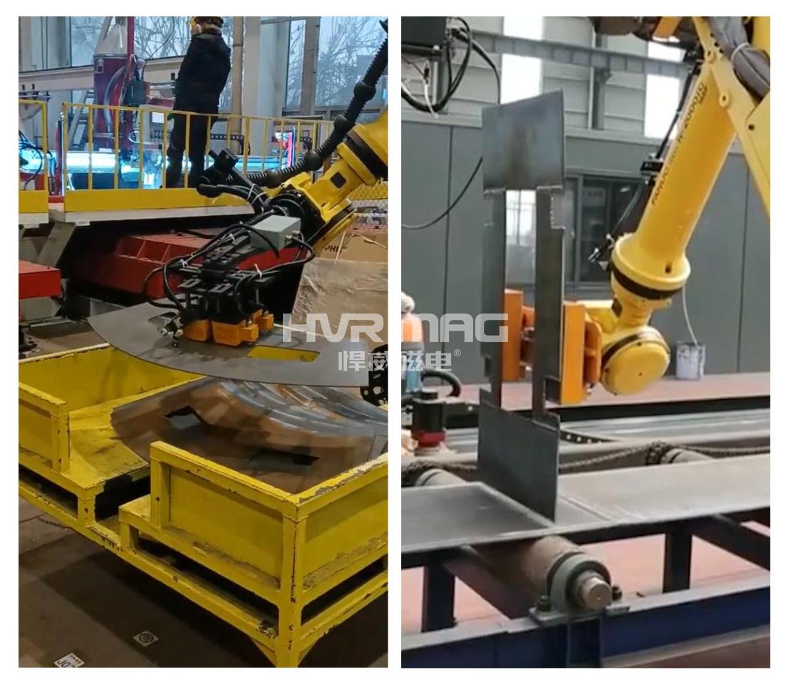 工业机器人抓取导磁性薄工件,单张不粘连,选电磁抓手还是电永磁抓手?
