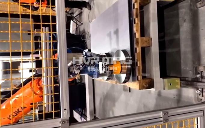 电永磁吸盘在自动化打托码垛领域的应用_磁力抓手搬运圆形工件